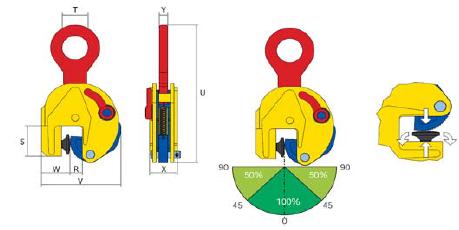 Platenklem (Terrier TJP), voor verticaal hijsen van (dun plaatwerk)