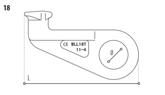 Containerhaak technische tekening